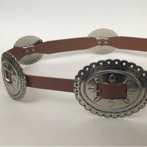 Rebecca Minkoff leather belt w silver conches xl
